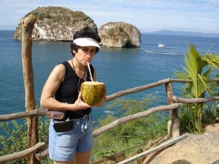 Brenda Avadian in Mexico Drinking la Leche fresca de Coco