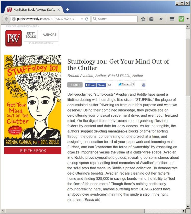 Publishers Weekly Review of STUFFology 101 Get Your Mind Out of the Clutter
